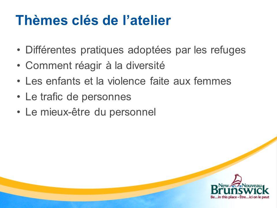 Thèmes clés de latelier Différentes pratiques adoptées par les refuges Comment réagir à la diversité Les enfants et la violence faite aux femmes Le tr
