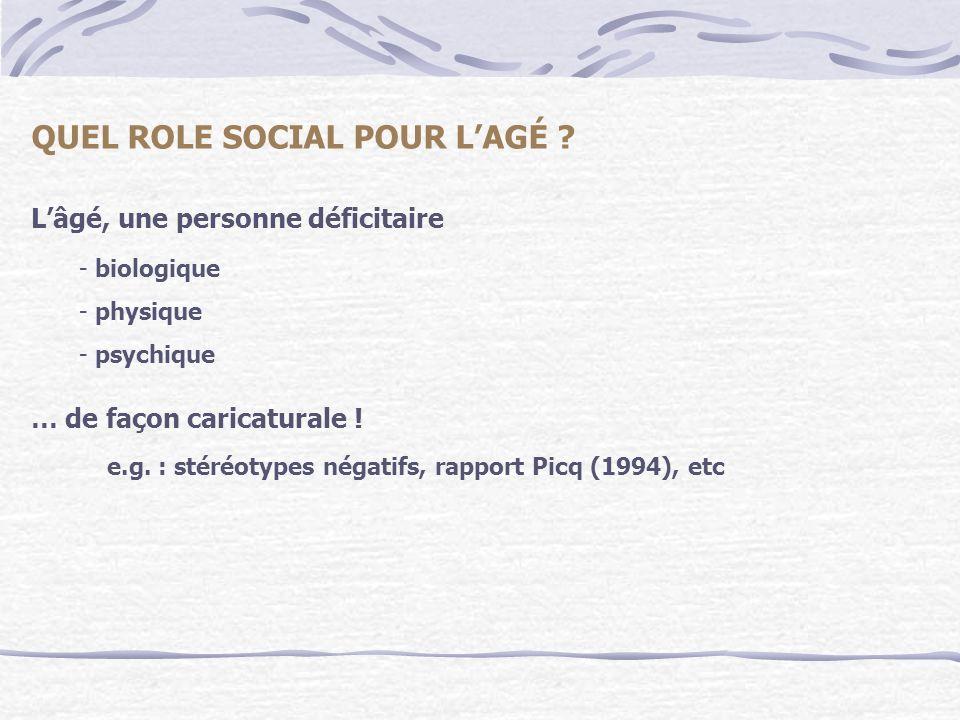Lâgé, une personne déficitaire QUEL ROLE SOCIAL POUR LAGÉ ? - biologique - physique - psychique … de façon caricaturale ! e.g. : stéréotypes négatifs,