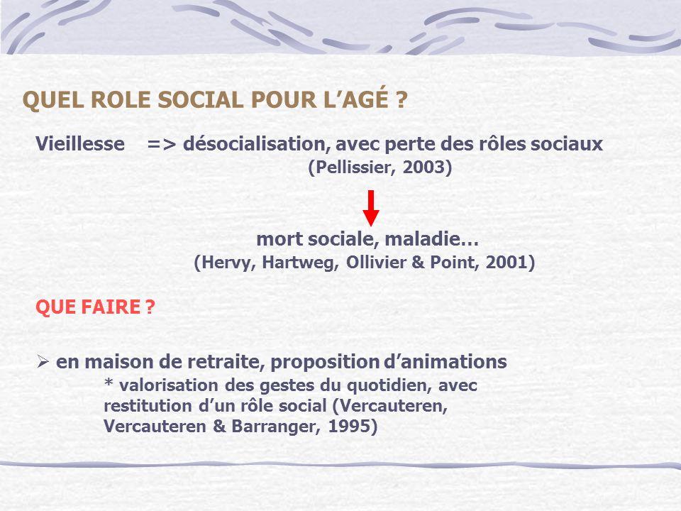 Vieillesse => désocialisation, avec perte des rôles sociaux (Pellissier, 2003) mort sociale, maladie… (Hervy, Hartweg, Ollivier & Point, 2001) QUE FAI