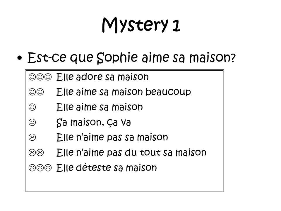 Mystery 1 Est-ce que Sophie aime sa maison.