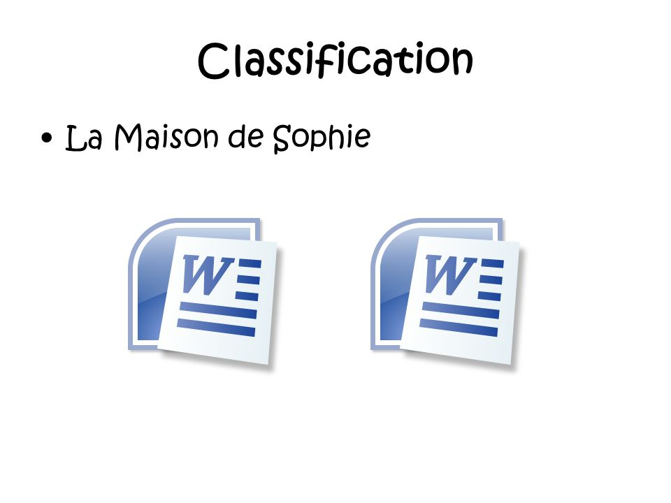 Classification La Maison de Sophie