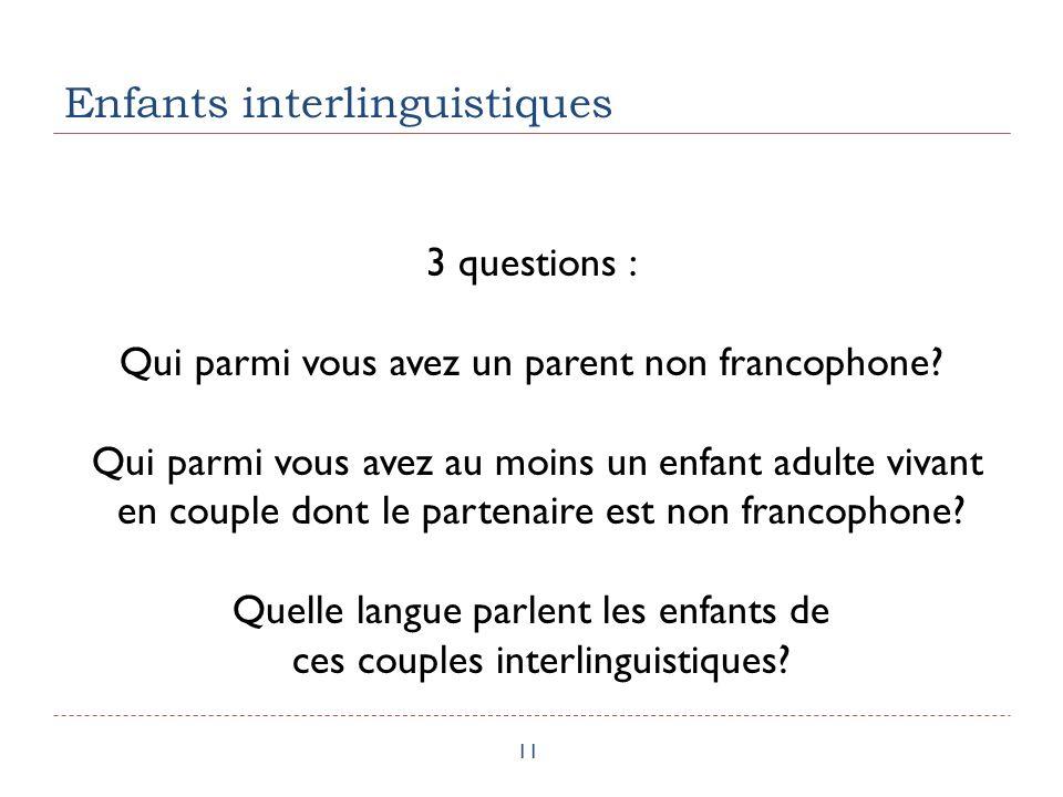 Enfants interlinguistiques 11 3 questions : Qui parmi vous avez un parent non francophone.