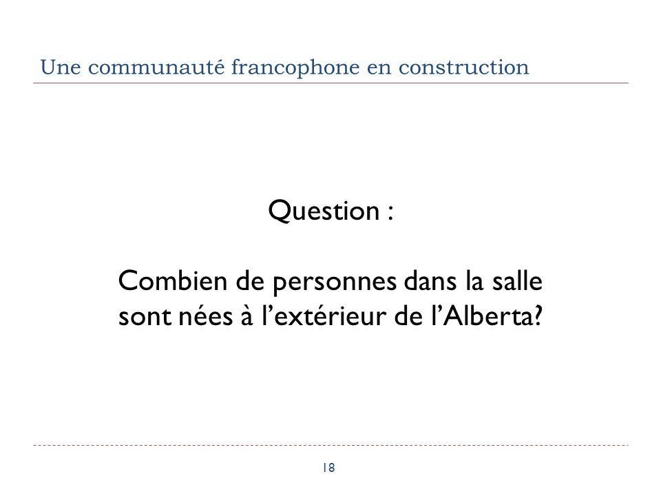 Une communauté francophone en construction 18 Question : Combien de personnes dans la salle sont nées à lextérieur de lAlberta