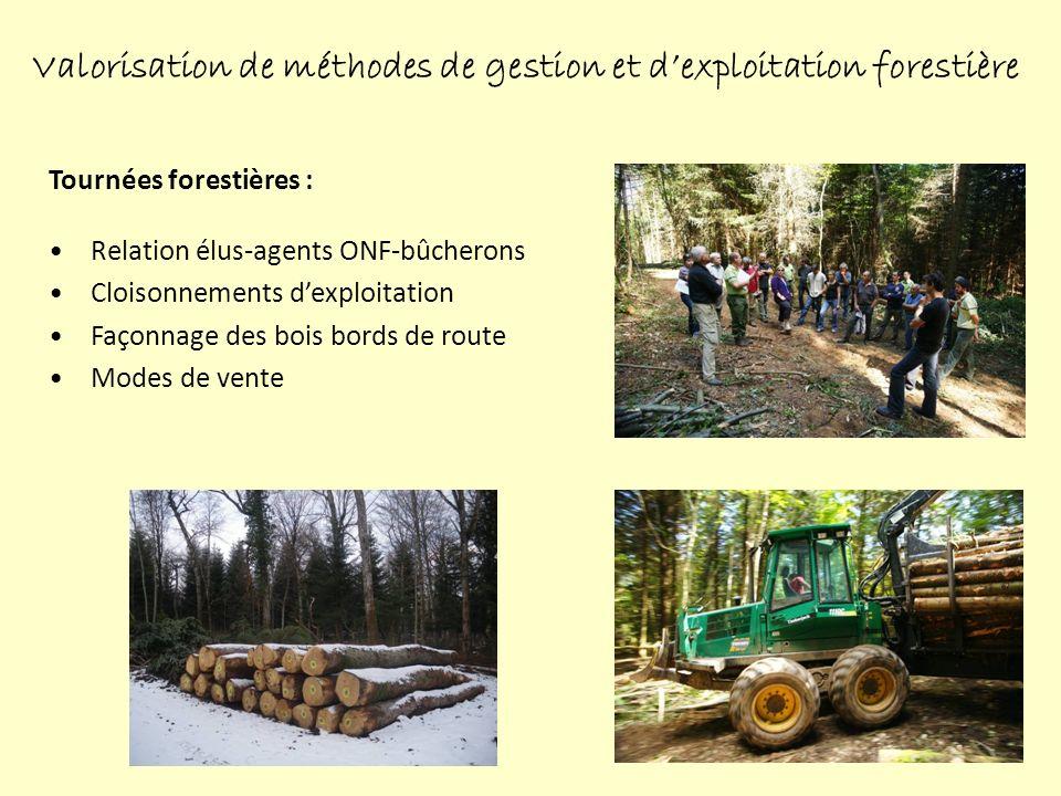Tournées forestières : Relation élus-agents ONF-bûcherons Cloisonnements dexploitation Façonnage des bois bords de route Modes de vente Valorisation de méthodes de gestion et dexploitation forestière