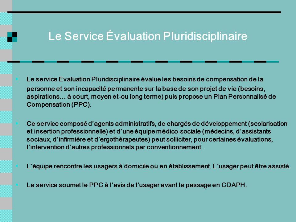 Le Service Évaluation Pluridisciplinaire Le service Evaluation Pluridisciplinaire évalue les besoins de compensation de la personne et son incapacité