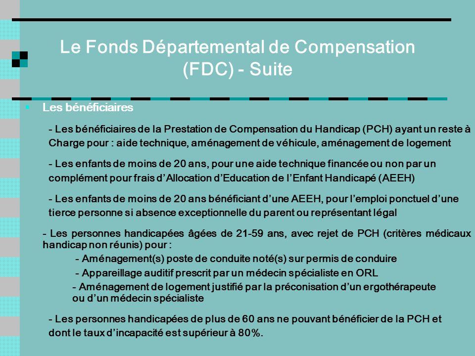 Le Fonds Départemental de Compensation (FDC) - Suite Les bénéficiaires - Les bénéficiaires de la Prestation de Compensation du Handicap (PCH) ayant un