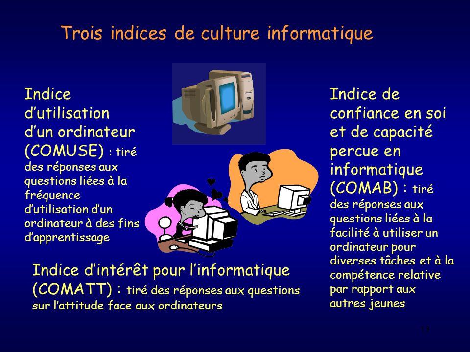 13 Trois indices de culture informatique Indice dutilisation dun ordinateur (COMUSE) : tiré des réponses aux questions liées à la fréquence dutilisati