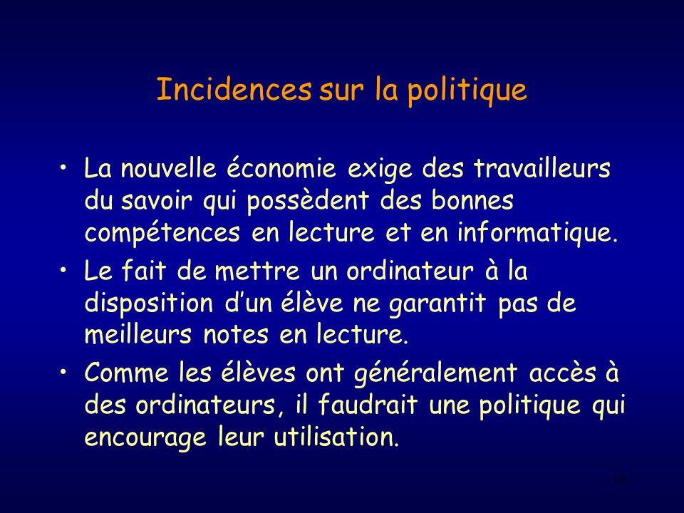 19 Incidences sur la politique La nouvelle économie exige des travailleurs du savoir qui possèdent des bonnes compétences en lecture et en informatiqu