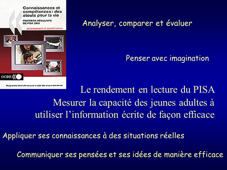 2 Analyser, comparer et évaluer Penser avec imagination Appliquer ses connaissances à des situations réelles Communiquer ses pensées et ses idées de m