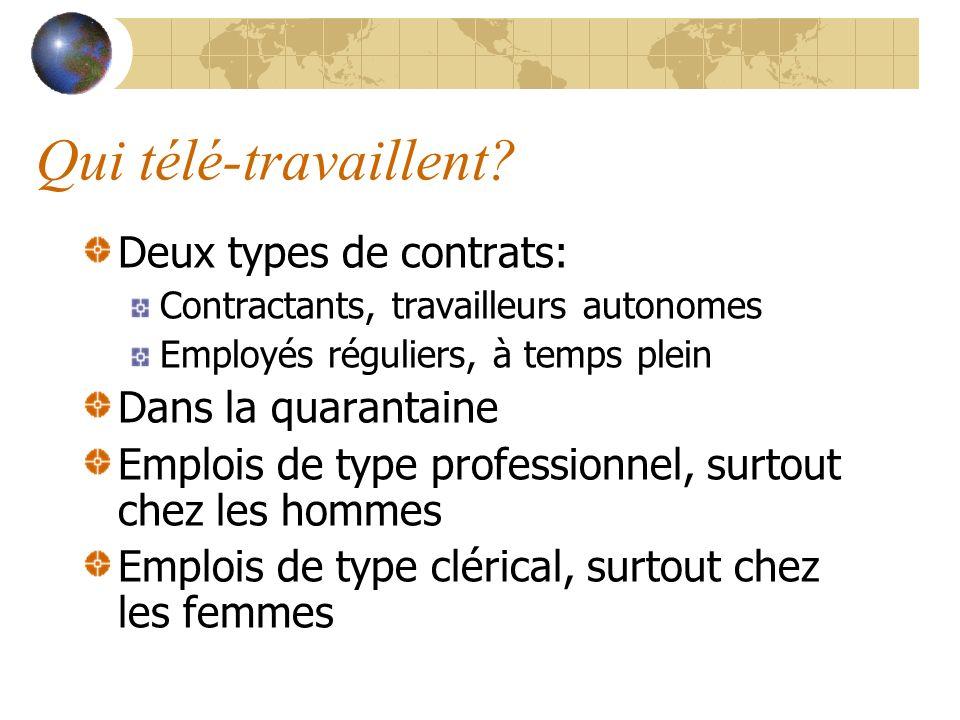 Qui télé-travaillent? Deux types de contrats: Contractants, travailleurs autonomes Employés réguliers, à temps plein Dans la quarantaine Emplois de ty