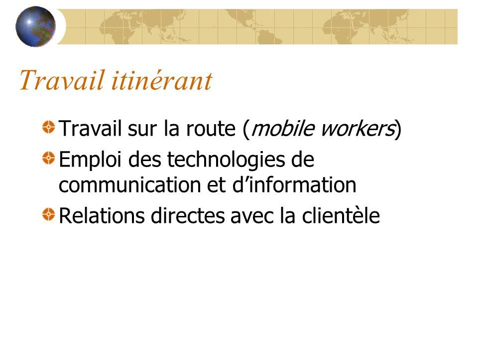 Travail itinérant Travail sur la route (mobile workers) Emploi des technologies de communication et dinformation Relations directes avec la clientèle