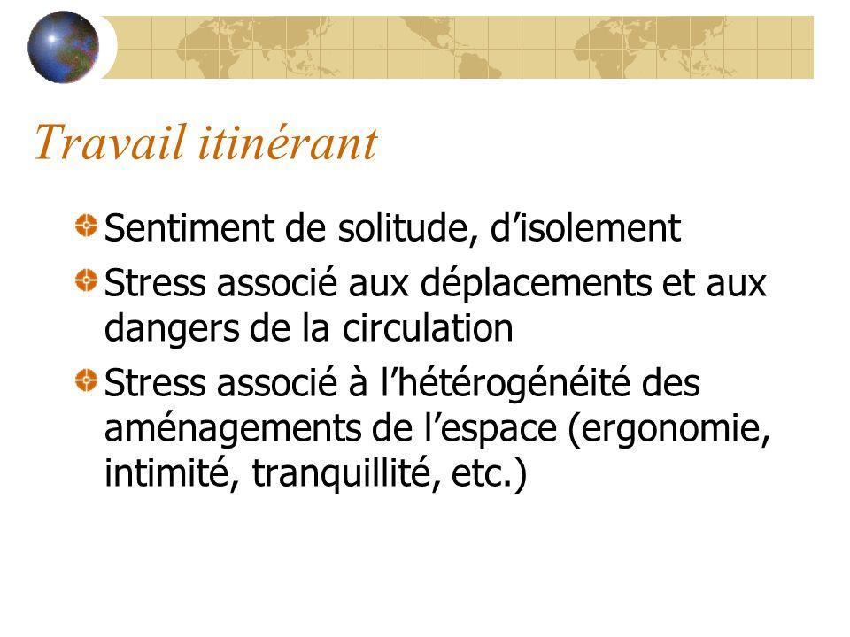 Travail itinérant Sentiment de solitude, disolement Stress associé aux déplacements et aux dangers de la circulation Stress associé à lhétérogénéité d