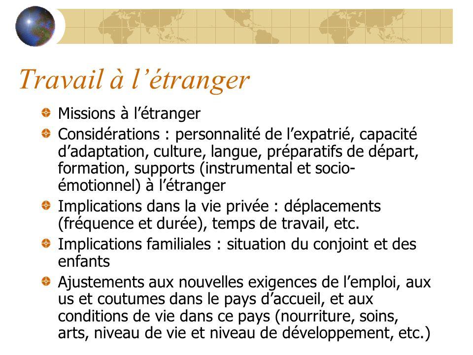 Travail à létranger Missions à létranger Considérations : personnalité de lexpatrié, capacité dadaptation, culture, langue, préparatifs de départ, for