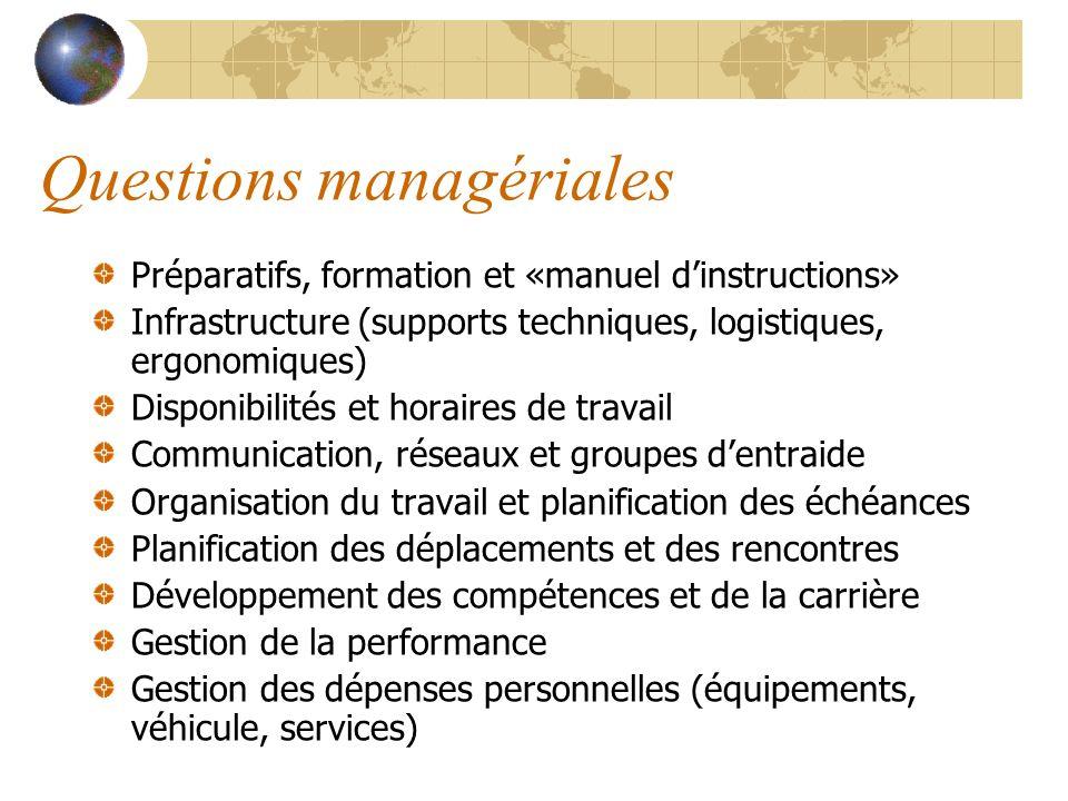 Questions managériales Préparatifs, formation et «manuel dinstructions» Infrastructure (supports techniques, logistiques, ergonomiques) Disponibilités