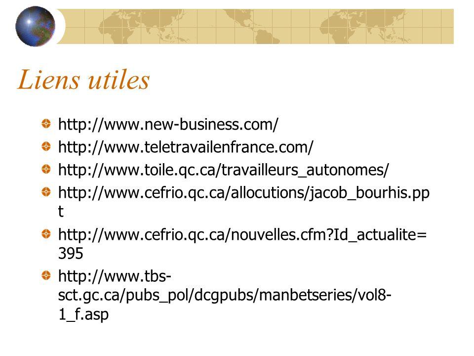 Liens utiles http://www.new-business.com/ http://www.teletravailenfrance.com/ http://www.toile.qc.ca/travailleurs_autonomes/ http://www.cefrio.qc.ca/a