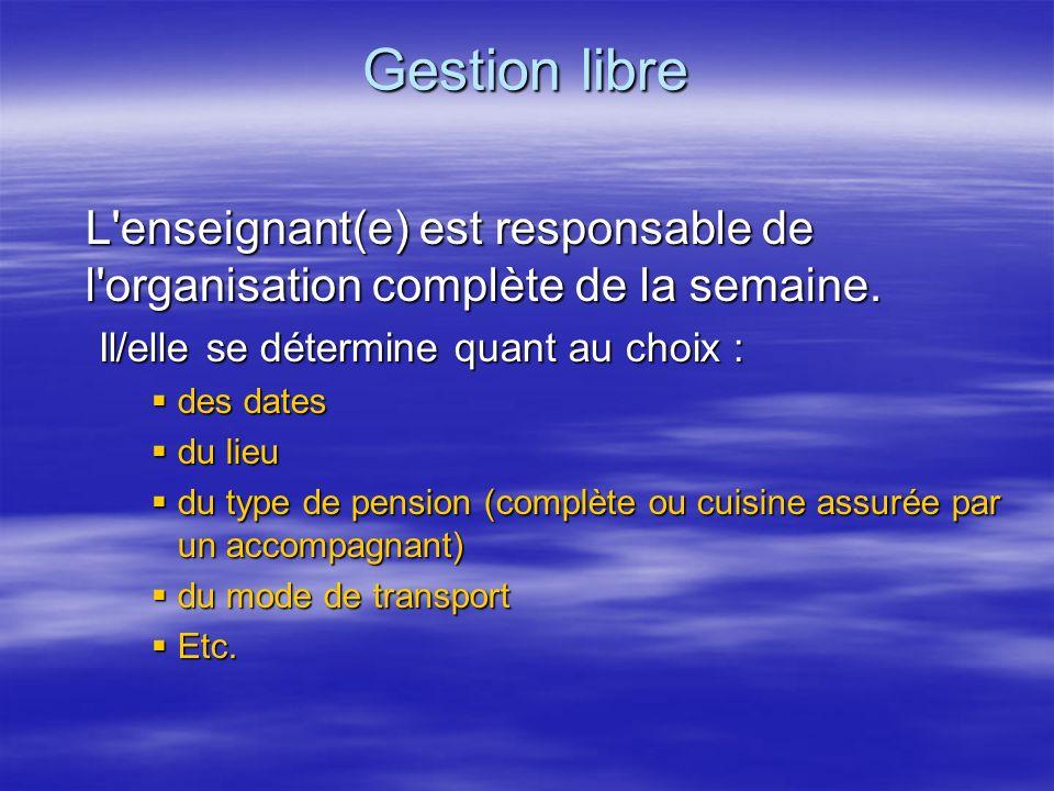 Gestion libre L'enseignant(e) est responsable de l'organisation complète de la semaine. Il/elle se détermine quant au choix : des dates des dates du l