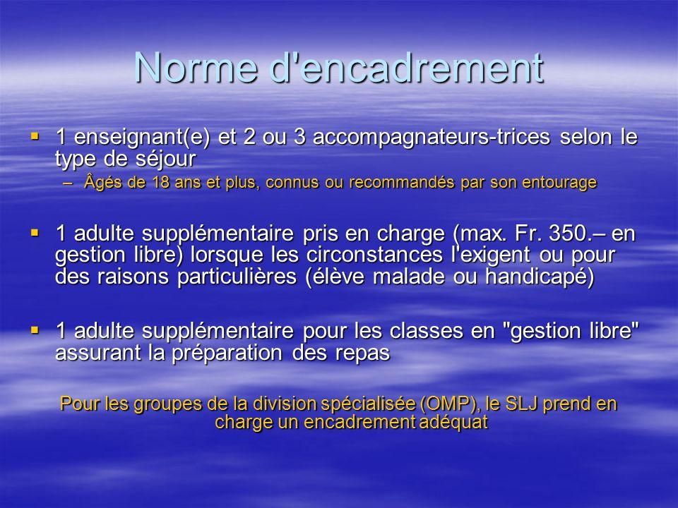 Norme d'encadrement 1 enseignant(e) et 2 ou 3 accompagnateurs-trices selon le type de séjour 1 enseignant(e) et 2 ou 3 accompagnateurs-trices selon le
