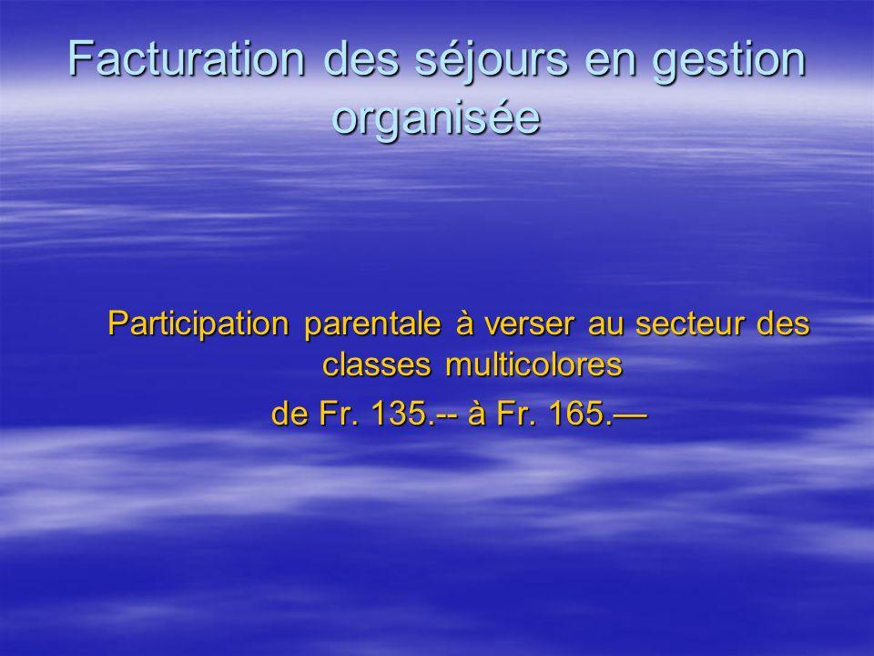 Facturation des séjours en gestion organisée Participation parentale à verser au secteur des classes multicolores de Fr. 135.-- à Fr. 165.