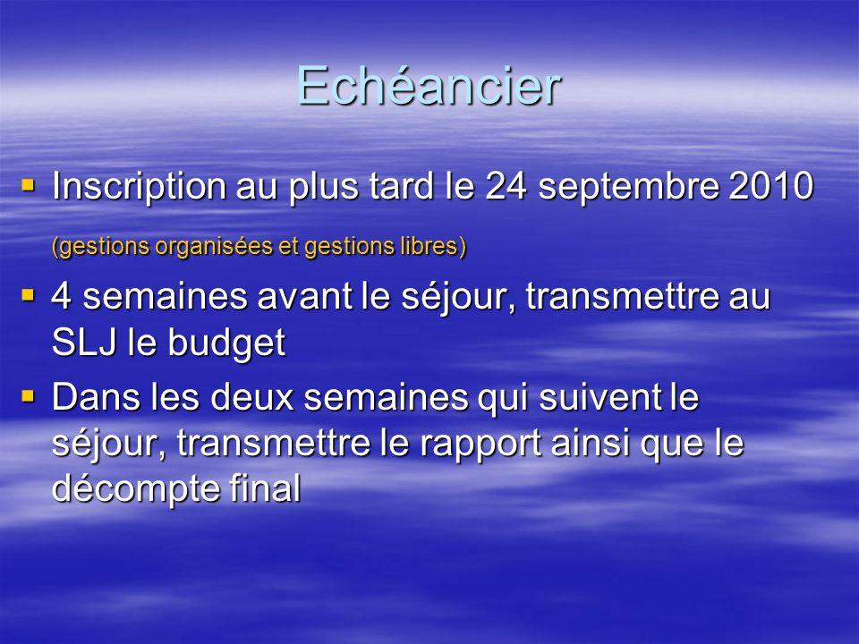 Echéancier Inscription au plus tard le 24 septembre 2010 Inscription au plus tard le 24 septembre 2010 (gestions organisées et gestions libres) 4 sema