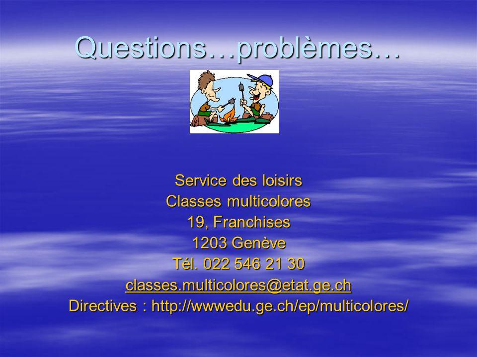 Questions…problèmes… Service des loisirs Classes multicolores 19, Franchises 1203 Genève Tél. 022 546 21 30 classes.multicolores@etat.ge.ch Directives