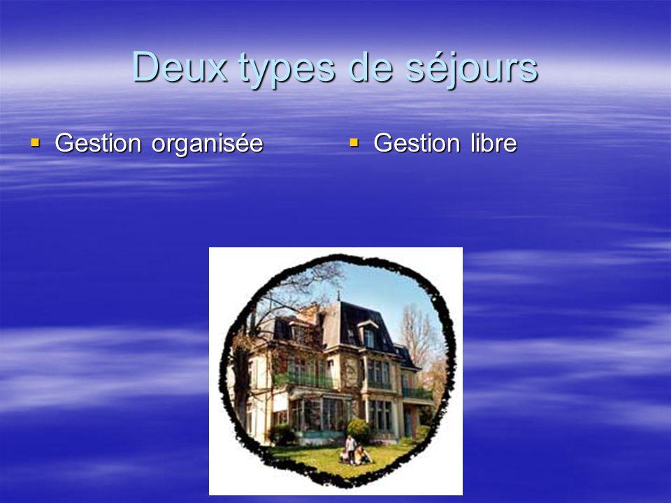Deux types de séjours Gestion organisée Gestion organisée Gestion libre Gestion libre