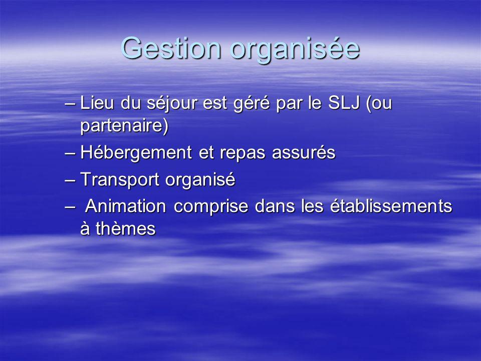 Gestion organisée –Lieu du séjour est géré par le SLJ (ou partenaire) –Hébergement et repas assurés –Transport organisé – Animation comprise dans les