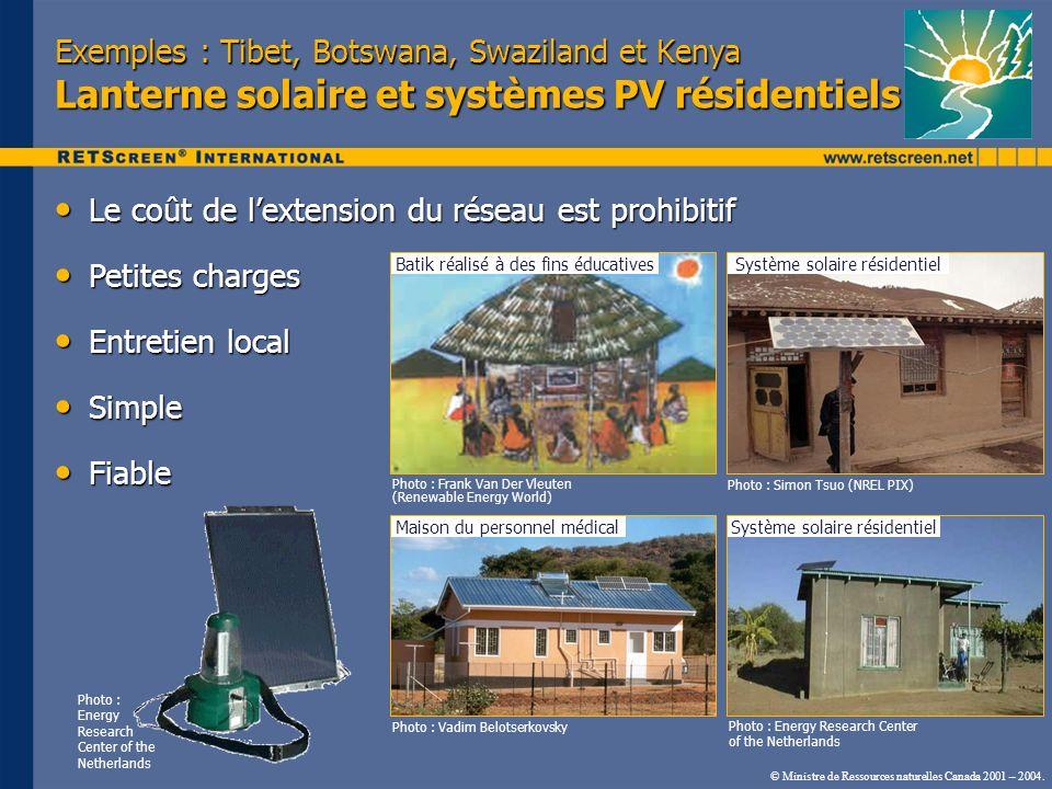 Exemples : Tibet, Botswana, Swaziland et Kenya Lanterne solaire et systèmes PV résidentiels Le coût de lextension du réseau est prohibitif Le coût de