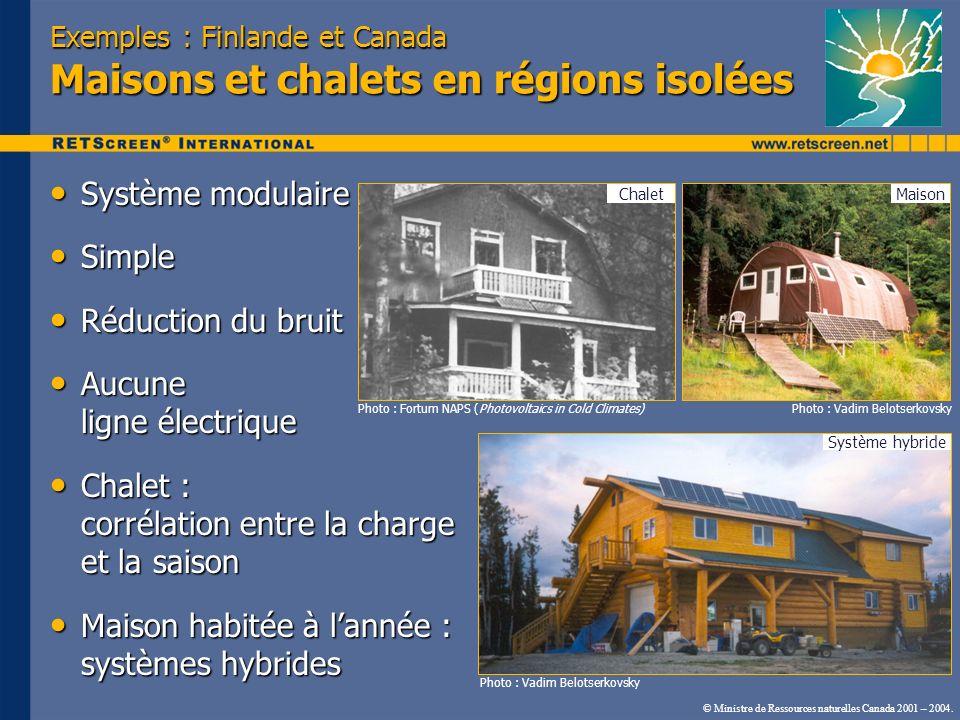 Exemples : Finlande et Canada Maisons et chalets en régions isolées Système modulaire Système modulaire Simple Simple Réduction du bruit Réduction du