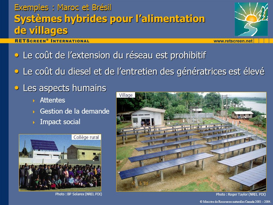 Exemples : Maroc et Brésil Systèmes hybrides pour lalimentation de villages Le coût de lextension du réseau est prohibitif Le coût de lextension du ré