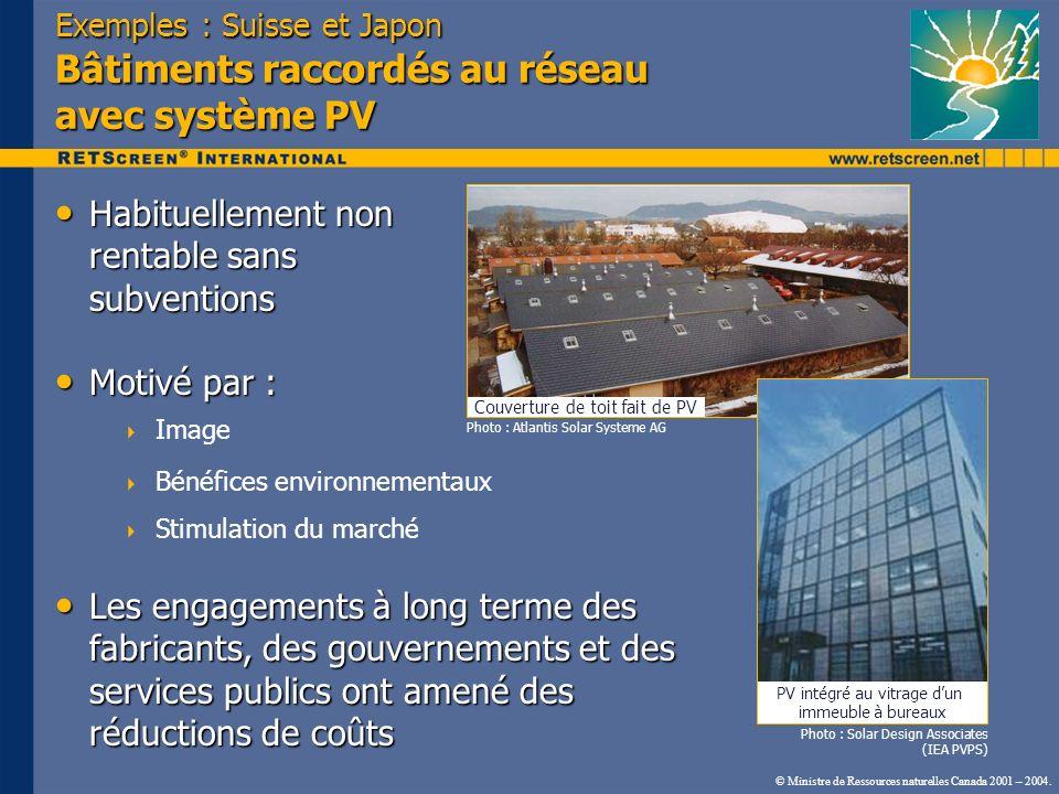 Exemples : Suisse et Japon Bâtiments raccordés au réseau avec système PV Habituellement non rentable sans subventions Habituellement non rentable sans