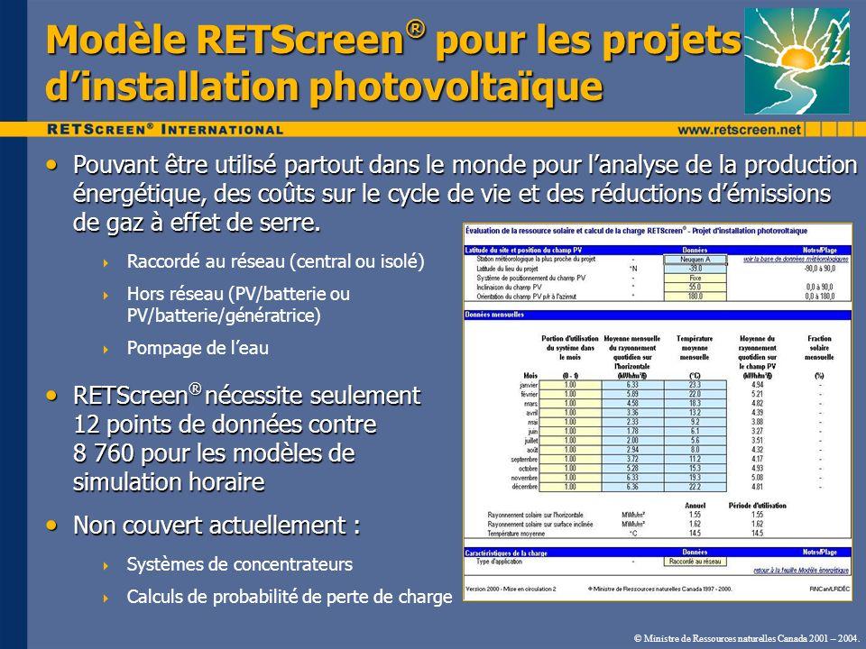 Modèle RETScreen ® pour les projets dinstallation photovoltaïque Pouvant être utilisé partout dans le monde pour lanalyse de la production énergétique, des coûts sur le cycle de vie et des réductions démissions de gaz à effet de serre.