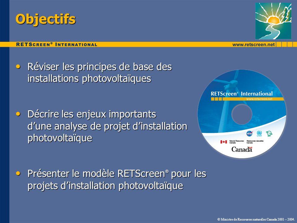 Objectifs Réviser les principes de base des installations photovoltaïques Réviser les principes de base des installations photovoltaïques Décrire les