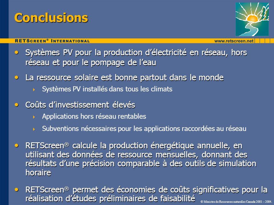 Conclusions Systèmes PV pour la production délectricité en réseau, hors réseau et pour le pompage de leau Systèmes PV pour la production délectricité