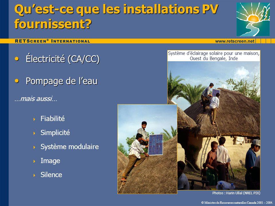 Quest-ce que les installations PV fournissent? Électricité (CA/CC) Électricité (CA/CC) Pompage de leau Pompage de leau …mais aussi… Fiabilité Simplici
