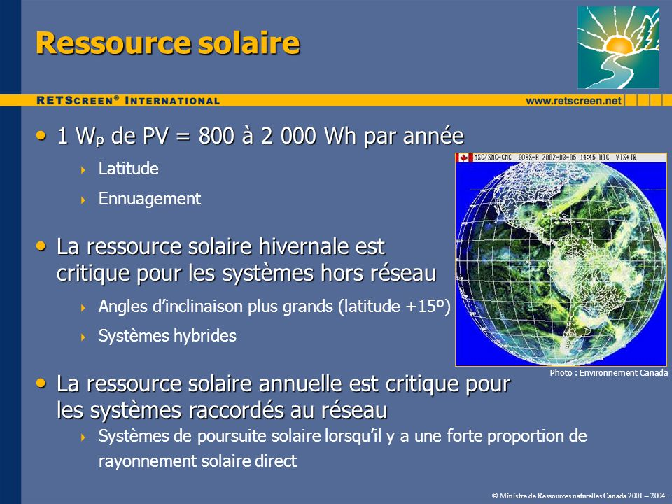 Corrélation entre la charge et lénergie solaire Corrélation saisonnière Corrélation saisonnière Irrigation Chalet Corrélation diurne Corrélation diurne Positive, nulle et négative Source : Photovoltaics in Cold Climates, Ross & Royer, eds.