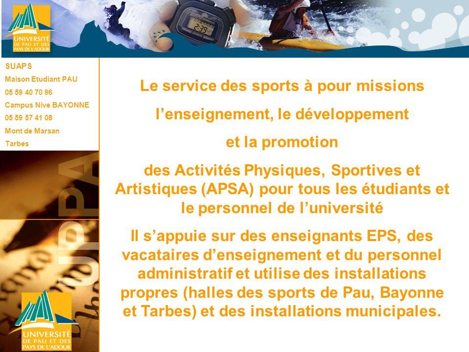Le SUAPS Le service des sports à pour missions lenseignement, le développement et la promotion des Activités Physiques, Sportives et Artistiques (APSA