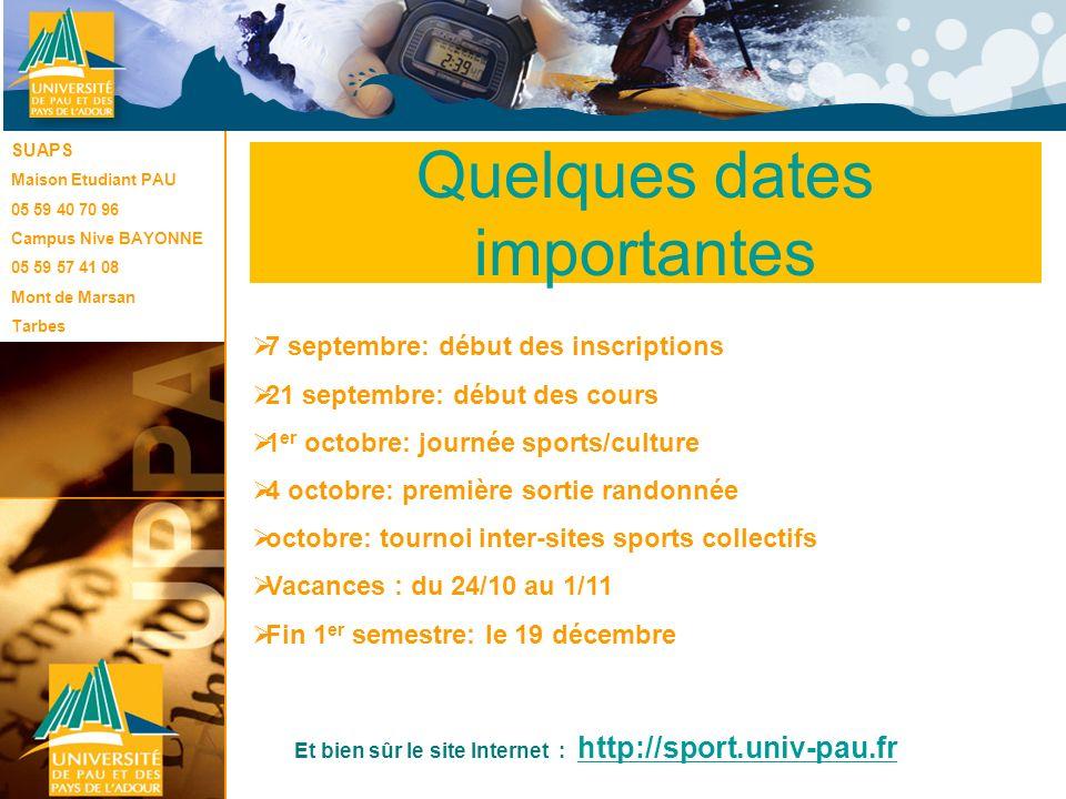 Le SUAPS 7 septembre: début des inscriptions 21 septembre: début des cours 1 er octobre: journée sports/culture 4 octobre: première sortie randonnée o