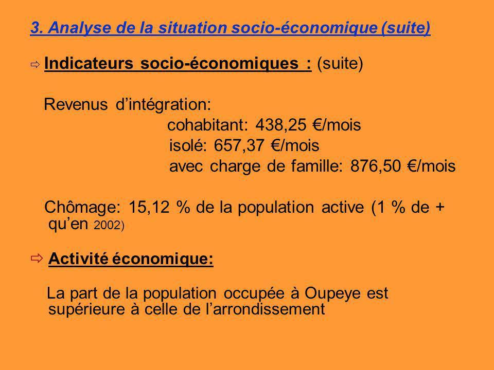 3. Analyse de la situation socio-économique (suite) Indicateurs socio-économiques : (suite) Revenus dintégration: cohabitant: 438,25 /mois isolé: 657,