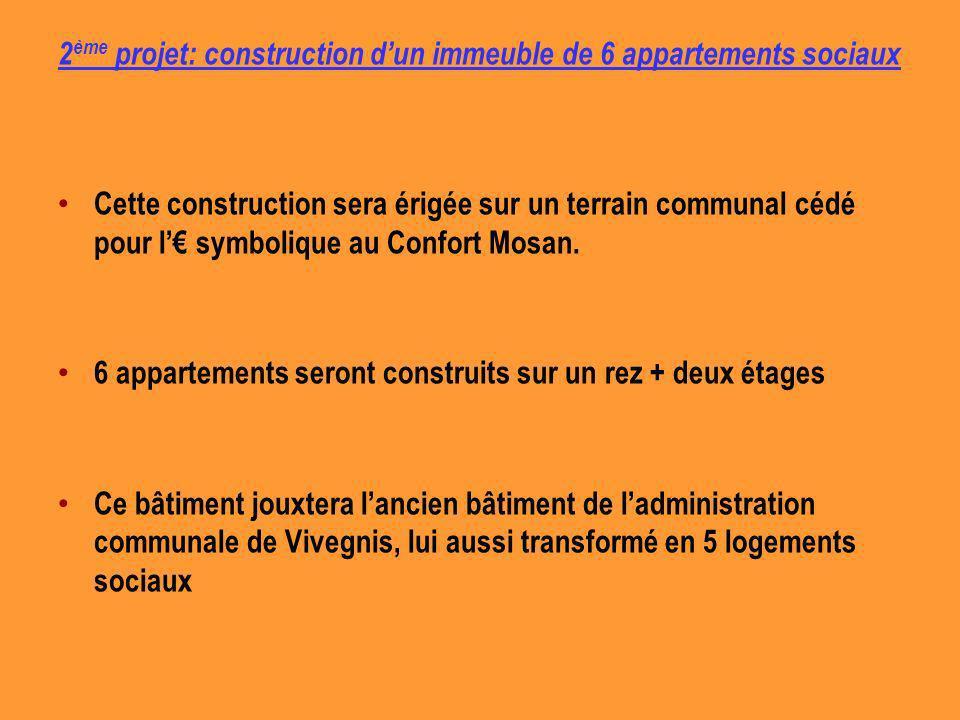 2 ème projet: construction dun immeuble de 6 appartements sociaux Cette construction sera érigée sur un terrain communal cédé pour l symbolique au Confort Mosan.