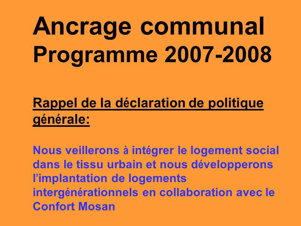 Ancrage communal Programme 2007-2008 Rappel de la d é claration de politique g é n é rale: Nous veillerons à int é grer le logement social dans le tissu urbain et nous d é velopperons l implantation de logements interg é n é rationnels en collaboration avec le Confort Mosan
