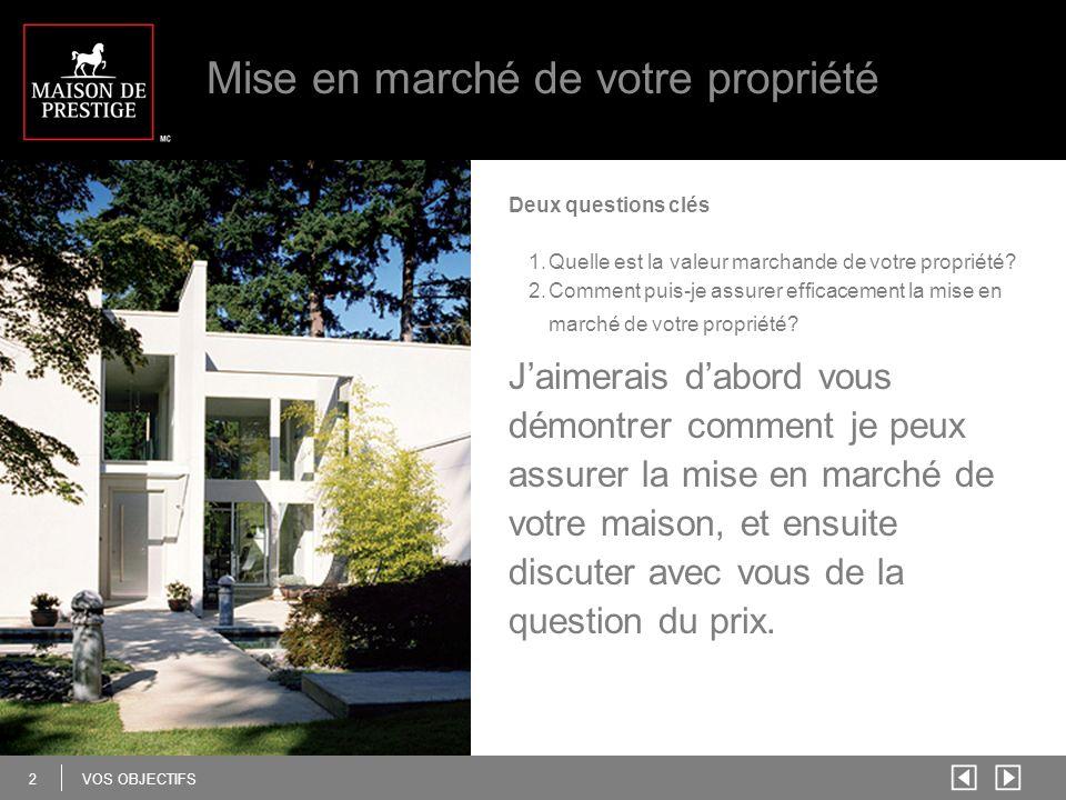 2 VOS OBJECTIFS Mise en marché de votre propriété Deux questions clés 1.Quelle est la valeur marchande de votre propriété.
