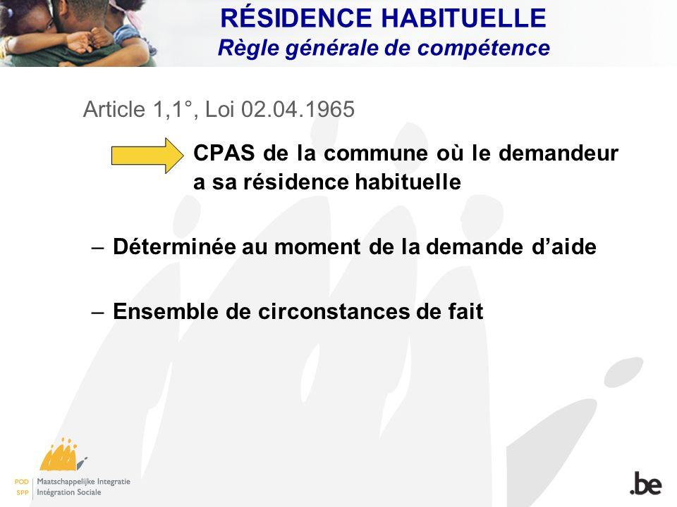 RÉSIDENCE HABITUELLE Règle générale de compétence Article 1,1°, Loi 02.04.1965 CPAS de la commune où le demandeur a sa résidence habituelle –Déterminé