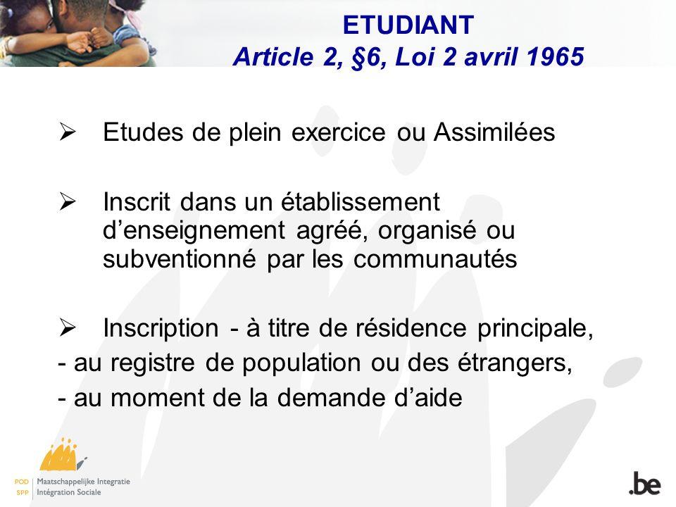 ETUDIANT Article 2, §6, Loi 2 avril 1965 Etudes de plein exercice ou Assimilées Inscrit dans un établissement denseignement agréé, organisé ou subvent