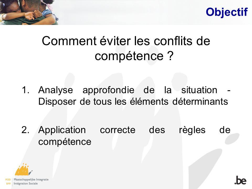 Objectif Comment éviter les conflits de compétence ? 1.Analyse approfondie de la situation - Disposer de tous les éléments déterminants 2.Application