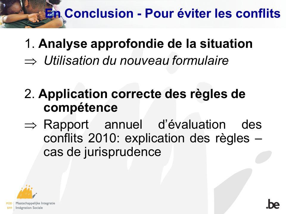 En Conclusion - Pour éviter les conflits 1. Analyse approfondie de la situation Utilisation du nouveau formulaire 2. Application correcte des règles d
