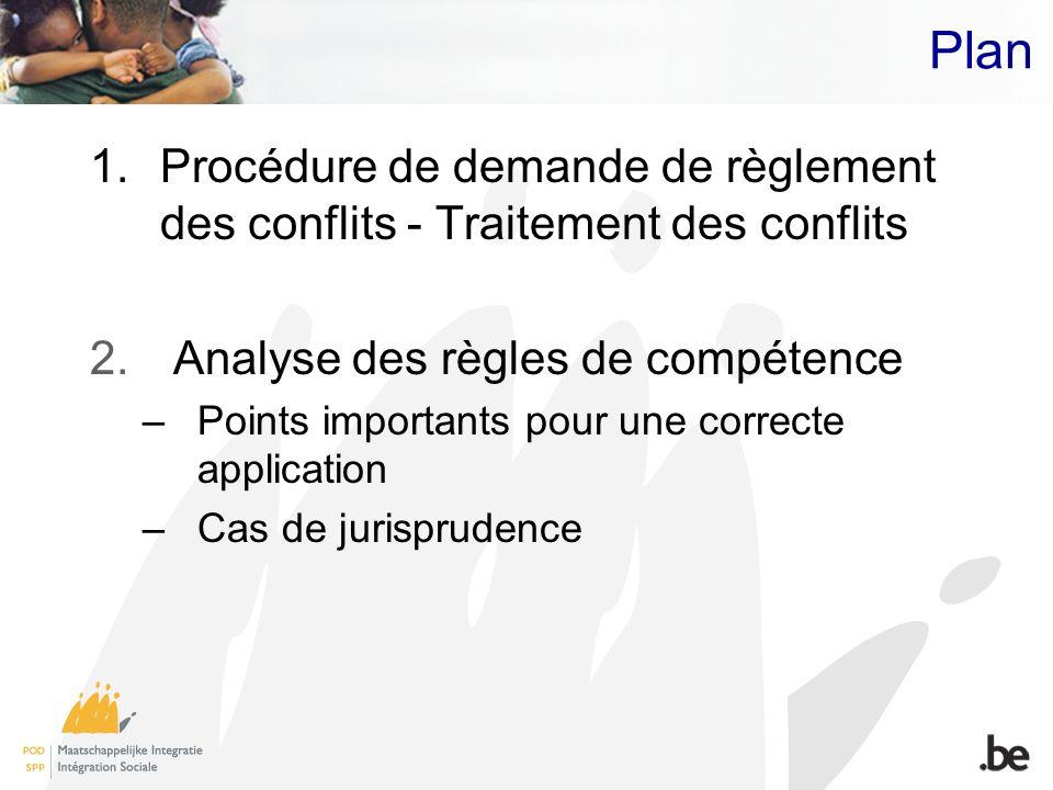 Plan 1.Procédure de demande de règlement des conflits - Traitement des conflits 2. Analyse des règles de compétence –Points importants pour une correc