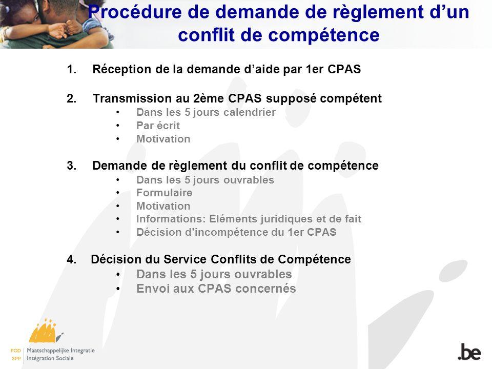 Procédure de demande de règlement dun conflit de compétence 1.Réception de la demande daide par 1er CPAS 2.Transmission au 2ème CPAS supposé compétent