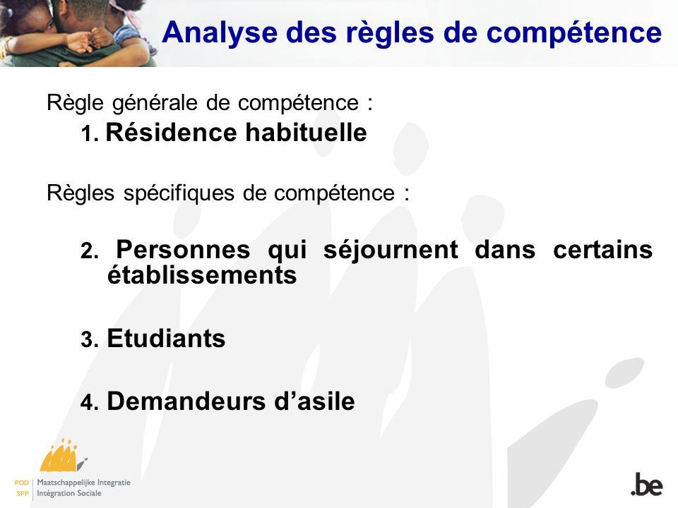 Analyse des règles de compétence Règle générale de compétence : 1. Résidence habituelle Règles spécifiques de compétence : 2. Personnes qui séjournent