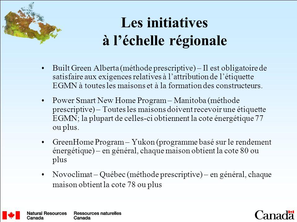 Les initiatives à léchelle régionale Built Green Alberta (méthode prescriptive) – Il est obligatoire de satisfaire aux exigences relatives à lattribution de létiquette EGMN à toutes les maisons et à la formation des constructeurs.
