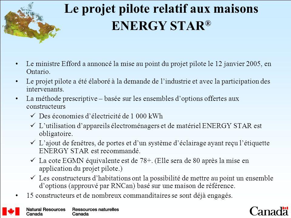 Le projet pilote relatif aux maisons ENERGY STAR ® Le ministre Efford a annoncé la mise au point du projet pilote le 12 janvier 2005, en Ontario. Le p